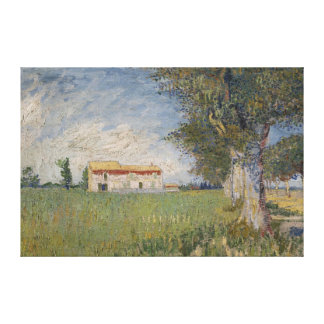Farmhouse in a wheat field Canvas Stretched Canvas Print