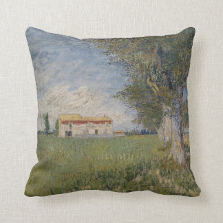 Farmhouse in a wheat field Pillow