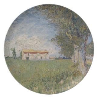 Farmhouse in a wheat field Plate