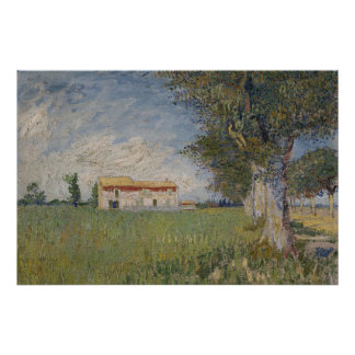 Farmhouse in a wheat field Poster