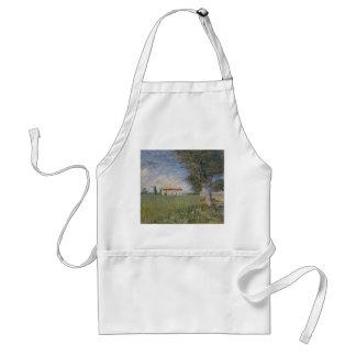 Farmhouse in a Wheat Field, Vincent Van Gogh Adult Apron