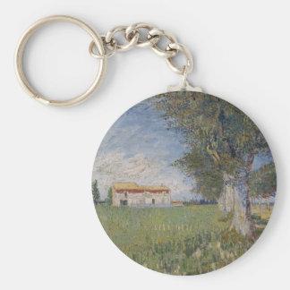 Farmhouse in a Wheat Field, Vincent Van Gogh Key Chains