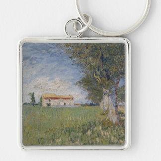 Farmhouse in a Wheat Field, Vincent Van Gogh Keychain