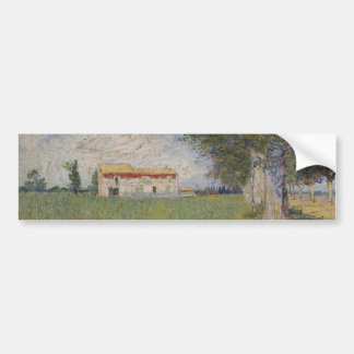 Farmhouse in a Wheatfield by Vincent Van Gogh Bumper Sticker