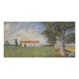 Farmhouse in a Wheatfield by Vincent Van Gogh Card