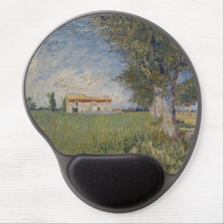 Farmhouse in a Wheatfield by Vincent Van Gogh Gel Mouse Mats