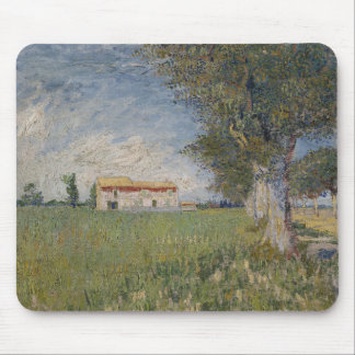 Farmhouse in a Wheatfield by Vincent Van Gogh Mousepads