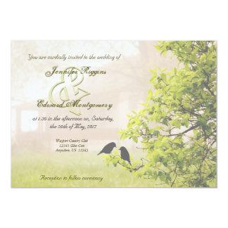 Farmhouse in Fog w Birds Wedding Invitation