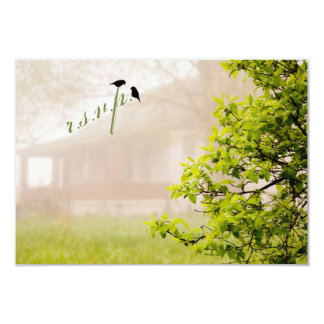 Farmhouse in Fog w Birds Wedding RSVP Cards