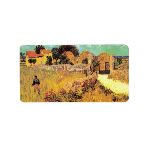 Farmhouse in Provence by Vincent van Gogh Custom Address Label