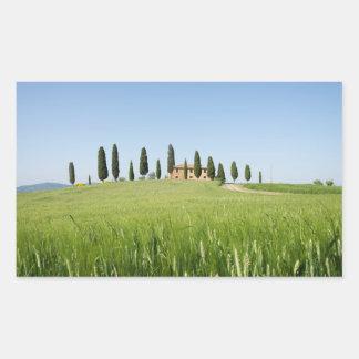 Farmhouse in Tuscany rectangular sticker