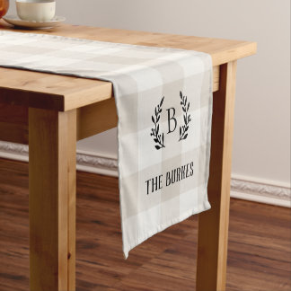 Farmhouse Linen Buffalo Check Family Monogram Short Table Runner