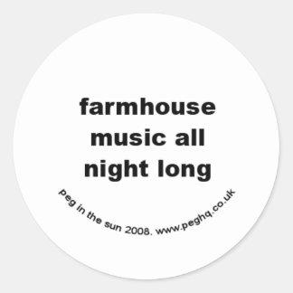 farmhouse music all night long classic round sticker