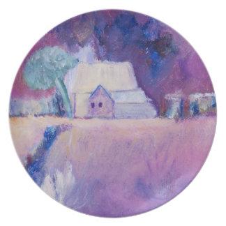 Farmhouse on farmland painting in oils dinner plate