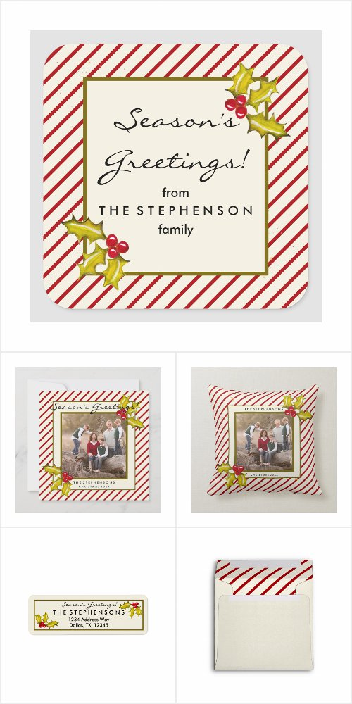 farmhouse peppermint stripe christmas cards, address labels, accessories