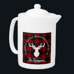 """Farmhouse Red and Black Buffalo Plaid Family Teapot<br><div class=""""desc"""">The product design features asilhouette of a deer on a classic red and black buffalo plaid pattern. Combined with your own personalized text,  this composition makes a rustic,  modern,  and unique teapot for Thanksgiving,  Christmas holiday,  family reunion,  or any other special gatherings!</div>"""