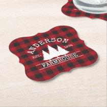 Farmhouse Red Buffalo Plaid Family Name Paper Coaster