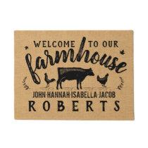 Farmhouse Rustic Burlap Country Cow Chicken Custom Doormat