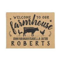 Farmhouse Rustic Burlap Country Cow Chicken Custom Doormat