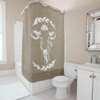 Farmhouse Rustic Faux Burlap Laurels Dairy Cow Shower Curtain