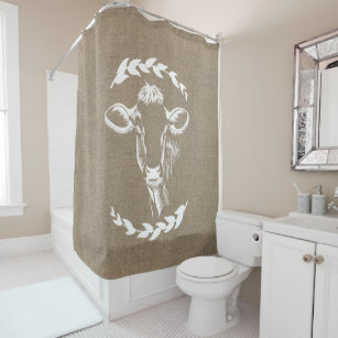 Farmhouse Rustic Faux Burlap Laurels Dairy Cow Shower Curtain