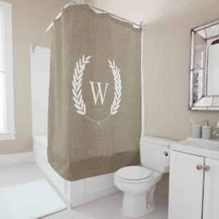 Farmhouse Rustic Faux Burlap Laurels Monogram Shower Curtain at Zazzle