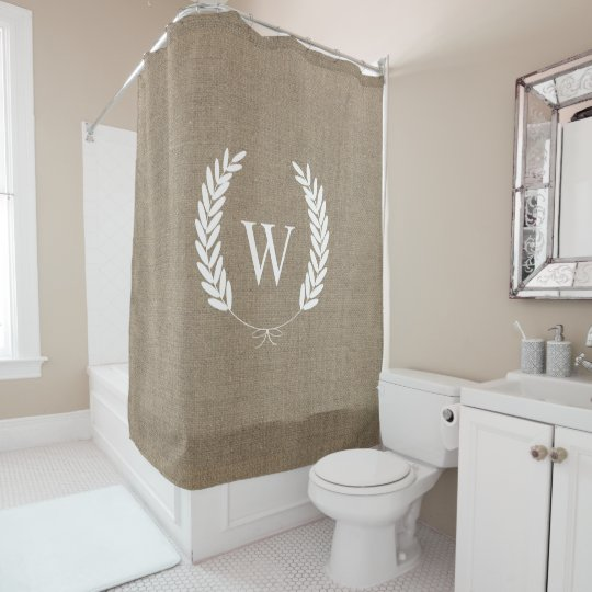 Super Farmhouse Rustic Faux Burlap Laurels Monogram Shower Curtain  MJ53