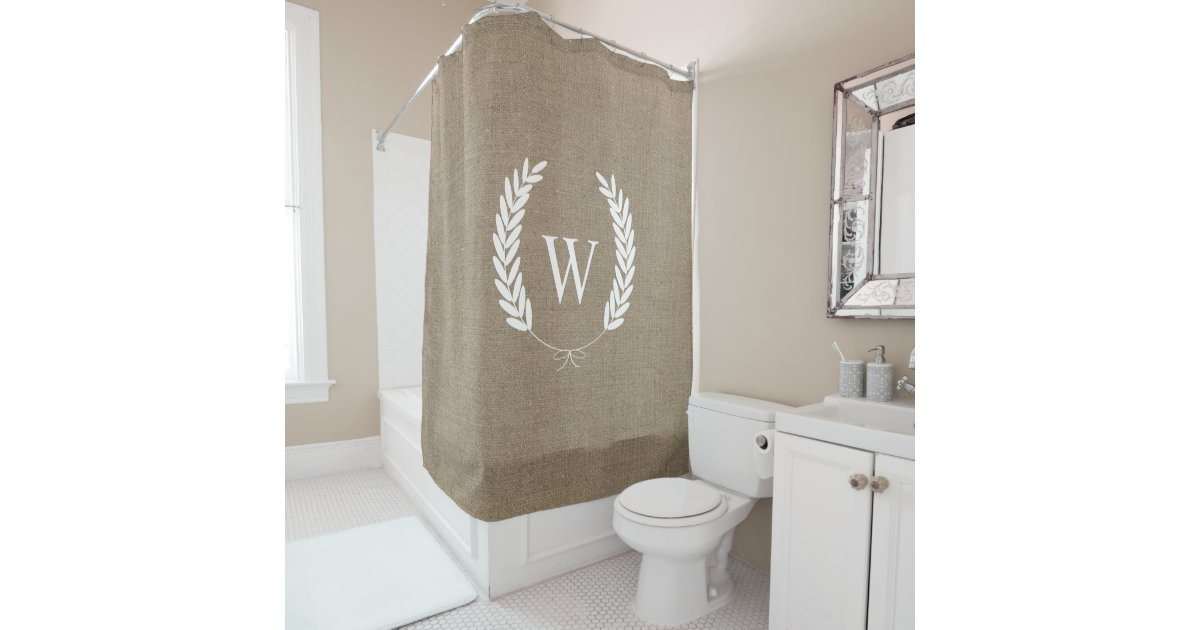 Farmhouse Rustic Faux Burlap Laurels Monogram Shower Curtain