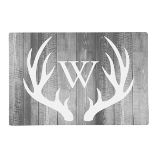 Farmhouse Rustic Grey Wood White Deer Antlers Placemat