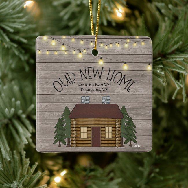 Farmhouse Rustic Primitive New Home Personalized Ceramic Ornament