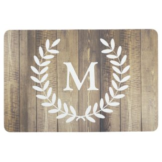 Farmhouse Rustic White Laurels Family Initial Floor Mat