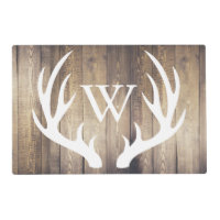 Farmhouse Rustic Wood White Deer Antlers Monogram Placemat