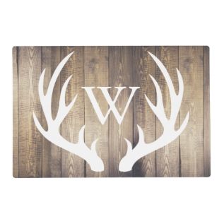 Farmhouse Rustic Wood White Deer Antlers Monogram Placemat at Zazzle