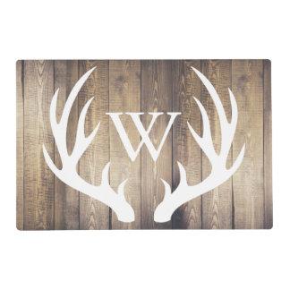 Farmhouse Rustic Wood White Deer Antlers Monogram Placemat