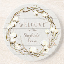 Farmhouse Shiplap Wood Twig Cotton Boll Wreath Sandstone Coaster
