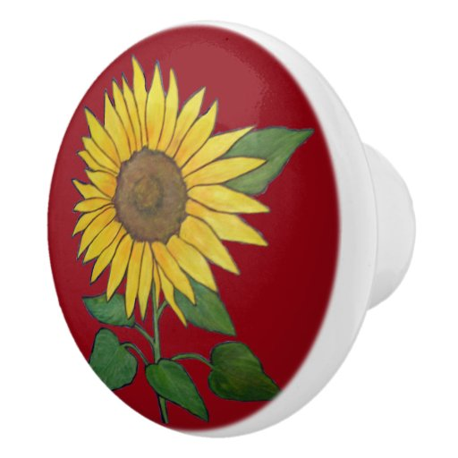 Farmhouse Sunflower Ceramic pull/knob Ceramic Knob