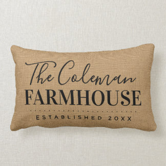 Farmhouse Tan Family Monogram Throw Pillow