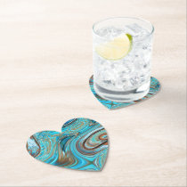 farmhouse  teal blue Woodgrain turquoise swirls Paper Coaster