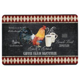 Farmhouse Vintage Rooster Coffee Bean Chalkboard Floor Mat
