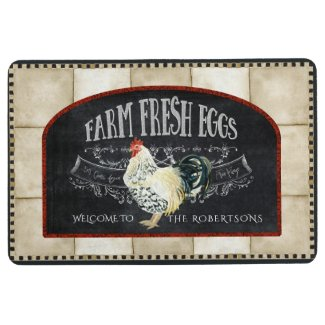 Farmhouse Vintage Rooster Farm Fresh Eggs Chalk Floor Mat