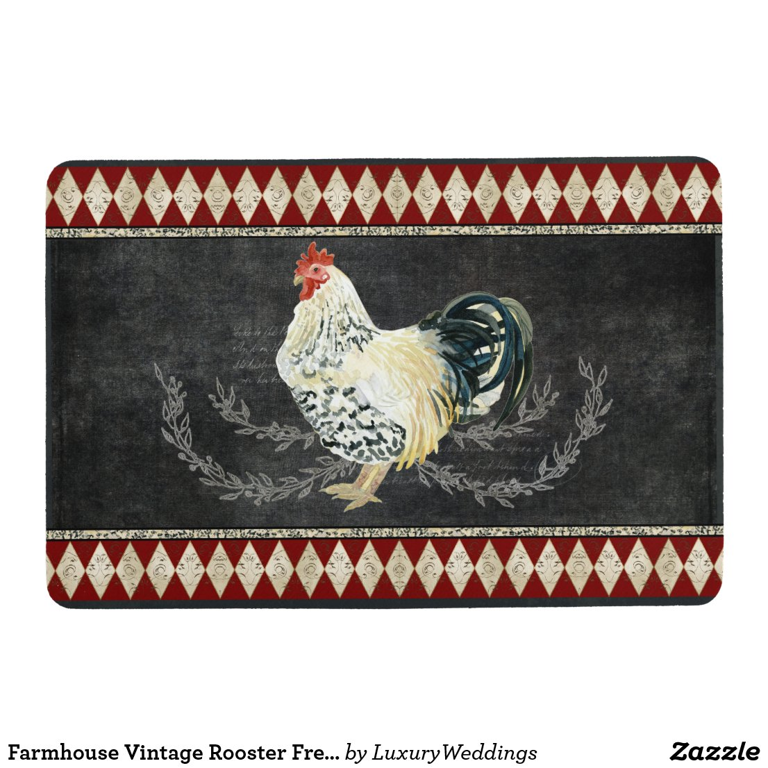 Farmhouse Vintage Rooster French Chalkboard Laurel Floor Mat