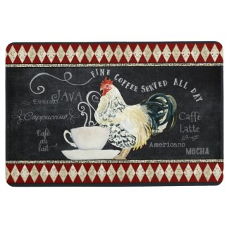 Farmhouse Vintage Rooster French Coffee Cafe Chalk Floor Mat