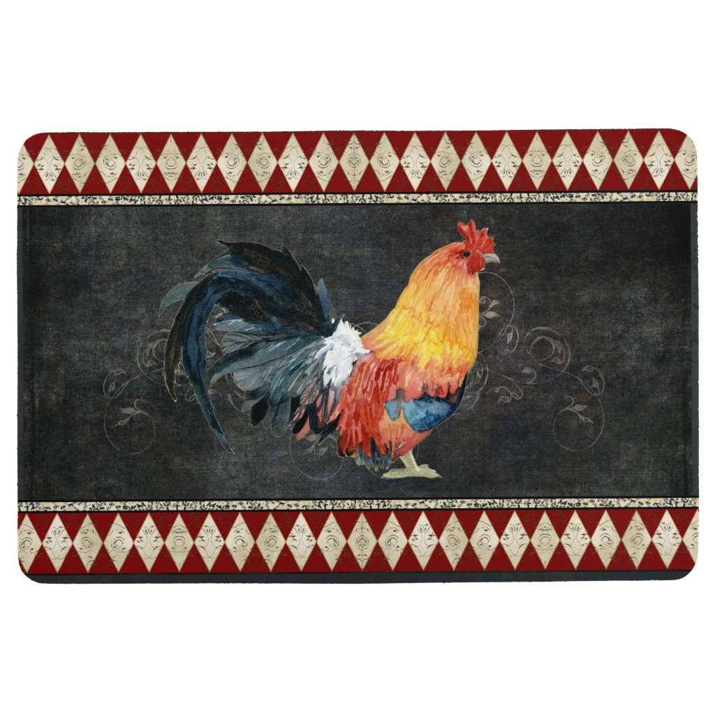 Farmhouse Vintage Rooster French Country Chalk Floor Mat