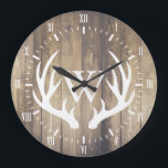 """Farmhouse White Numerals White Deer Antlers Wood Large Clock<br><div class=""""desc"""">Pretty farmhouse style light wood planks background with white roman numerals,  white deer antlers silhouette,  and your white personalized monogram letter.</div>"""