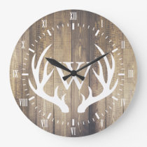 Farmhouse White Numerals White Deer Antlers Wood Large Clock