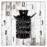 Farmhouse White Wood Rustic Milk Jug Home Sweet Square Wall Clock