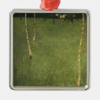 Farmhouse with Birch Trees, 1900 Metal Ornament