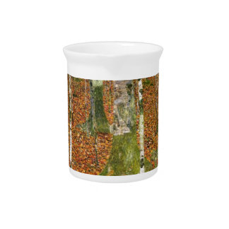 Farmhouse with Birch Trees Beverage Pitcher