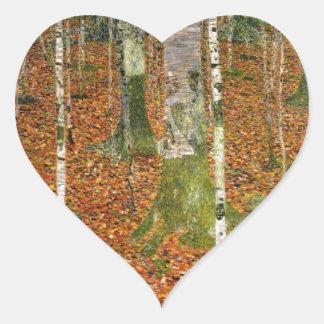 Farmhouse with Birch Trees Heart Sticker