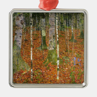 Farmhouse with Birch Trees Metal Ornament